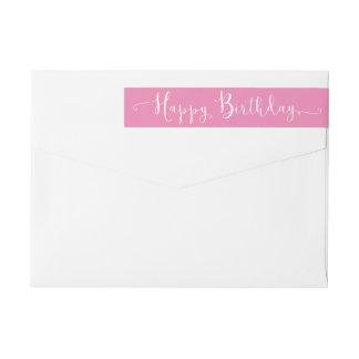 Happy Birthday White Script Wrap Around Label
