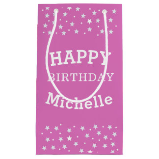 Happy Birthday White Stars on Pink Personalizable Small Gift Bag