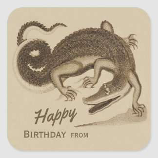 Happy Birthday Wild joyful crocodile CC0892 Square Sticker