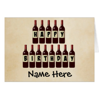 Happy Birthday Wine Bottles Customized Card