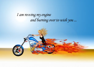 Happy Birthday With A Flaming Motorcycle Card
