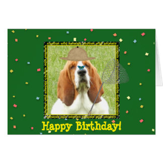 """Happy Birthday"" with Basset Hound as hunter Card"