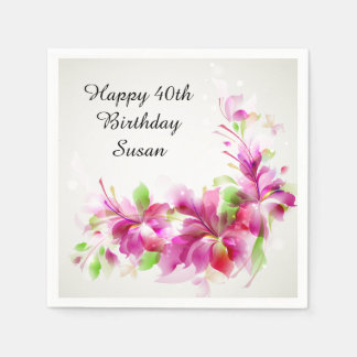 Happy Birthday with Beautiful Flowers Disposable Napkin