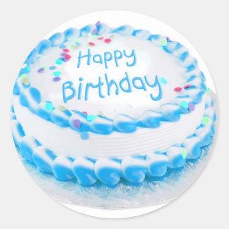 Happy birthday with blue frosting round sticker