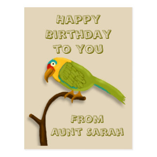 Happy Birthday, with Colorful Parrot on Perch Postcard