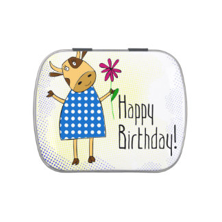 """""""Happy Birthday"""" with cute doodle cow"""