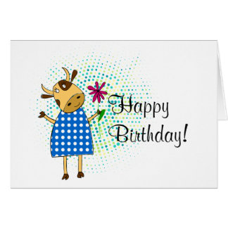 """Happy Birthday"" with cute doodle cow Card"