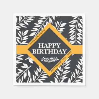Happy Birthday with Name in Black and White Paper Napkins