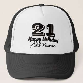 Happy Birthday with Name Trucker Hat