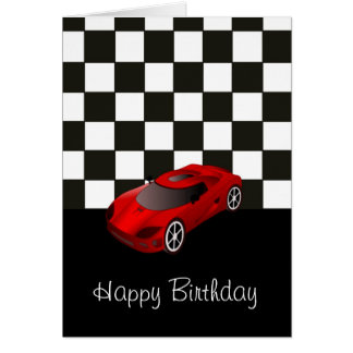 Happy birthday with red racing car card