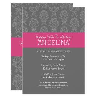 Happy Birthday with Trendy Gray and Pink Damask Card