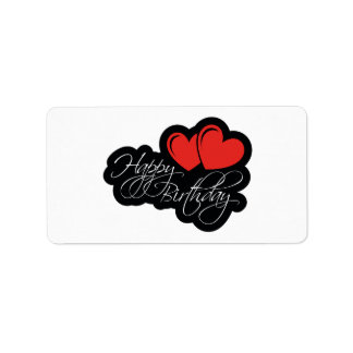 Happy Birthday with two red hearts