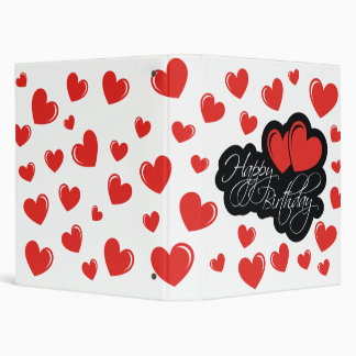 Happy Birthday with two red hearts 3 Ring Binder