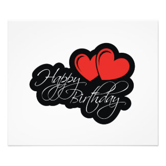 Happy Birthday with two red hearts Art Photo