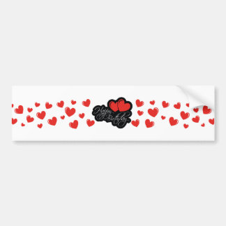 Happy Birthday with two red hearts Bumper Sticker