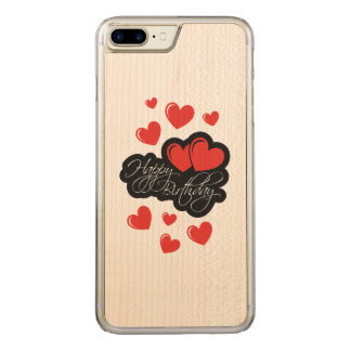 Happy Birthday with two red hearts Carved iPhone 8 Plus/7 Plus Case