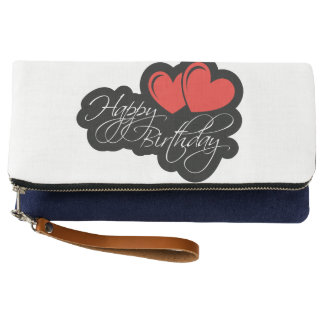 Happy Birthday with two red hearts Clutch