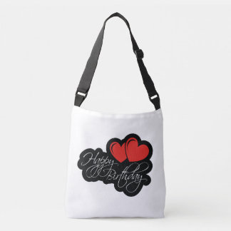 Happy Birthday with two red hearts Crossbody Bag