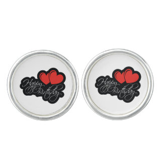 Happy Birthday with two red hearts Cufflinks