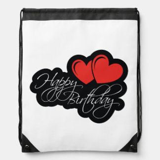Happy Birthday with two red hearts Drawstring Bag