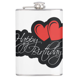 Happy Birthday with two red hearts Flasks