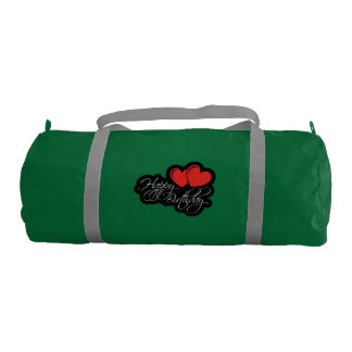 Happy Birthday with two red hearts Gym Bag