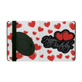 Happy Birthday with two red hearts iPad Folio Case