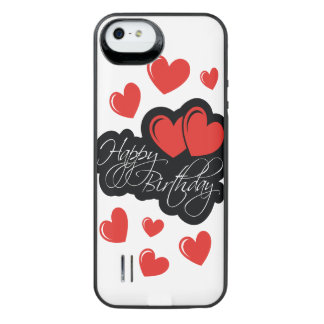 Happy Birthday with two red hearts iPhone SE/5/5s Battery Case
