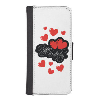 Happy Birthday with two red hearts iPhone SE/5/5s Wallet Case