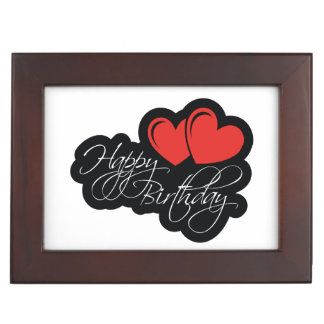 Happy Birthday with two red hearts Keepsake Box