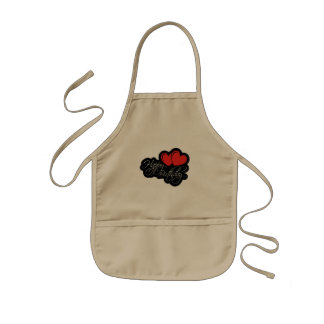 Happy Birthday with two red hearts Kids Apron