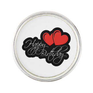 Happy Birthday with two red hearts Lapel Pin