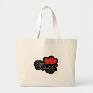 Happy Birthday with two red hearts Large Tote Bag