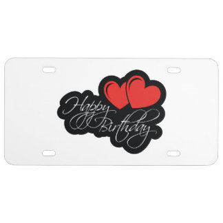 Happy Birthday with two red hearts License Plate