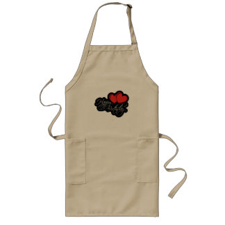 Happy Birthday with two red hearts Long Apron