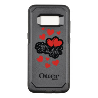 Happy Birthday with two red hearts OtterBox Commuter Samsung Galaxy S8 Case