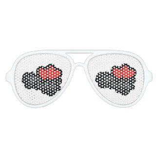 Happy Birthday with two red hearts Party Sunglasses