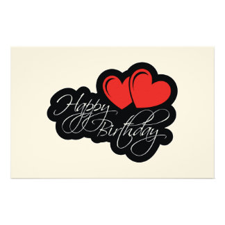 Happy Birthday with two red hearts Personalized Stationery