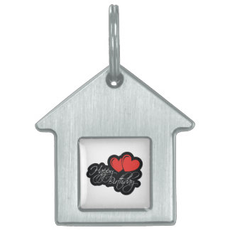 Happy Birthday with two red hearts Pet Name Tag