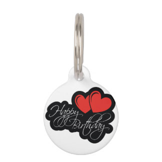 Happy Birthday with two red hearts Pet Nametag