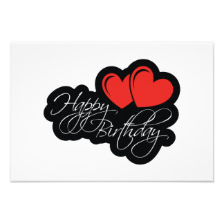 Happy Birthday with two red hearts Photo Print