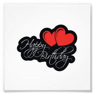 Happy Birthday with two red hearts Photographic Print