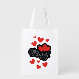 Happy Birthday with two red hearts Reusable Grocery Bag