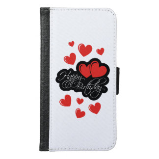 Happy Birthday with two red hearts Samsung Galaxy S6 Wallet Case