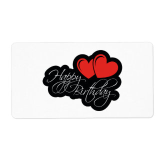 Happy Birthday with two red hearts Shipping Label