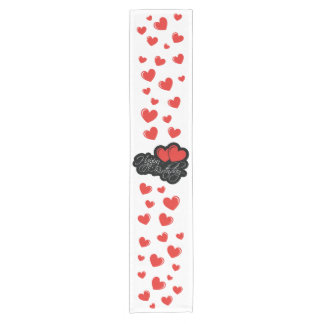 Happy Birthday with two red hearts Short Table Runner