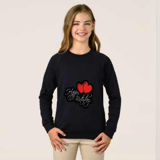 Happy Birthday with two red hearts Sweatshirt