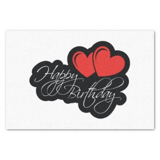 Happy Birthday with two red hearts Tissue Paper