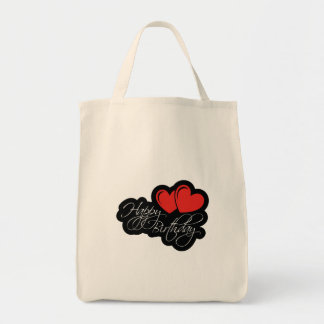 Happy Birthday with two red hearts Tote Bag