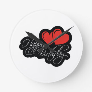 Happy Birthday with two red hearts Wallclock